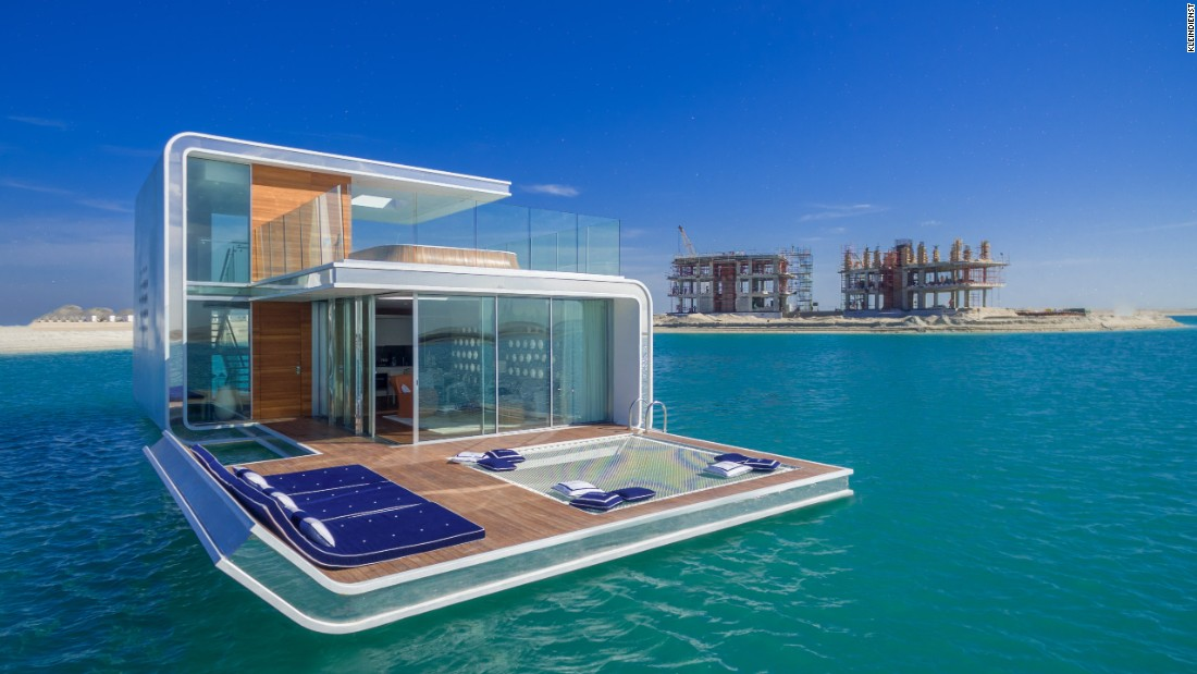 Floating Seahorse villas include two underwater bedrooms, an outdoor sun deck, and a rooftop with a glass-bottom Jacuzzi. At just 9.5 centimeters thick, the floor-to-ceiling underwater windows make it seem like there's nothing between you and the fish.