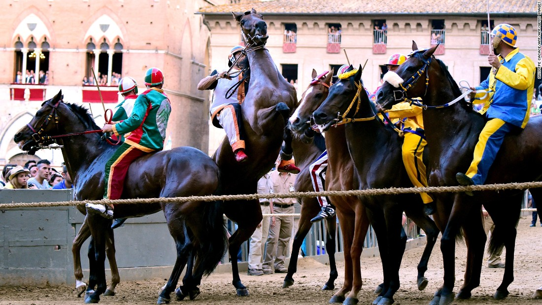 "All the riders wear the respective colors of their districts but, in a race dubbed by some ""the toughest horse race in the world,"" they must ride bareback."