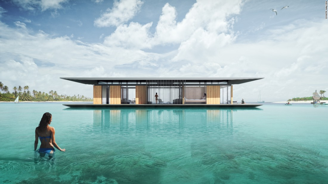 To enable The Floating House to rise and fall with the tides, architect Dymitr Malcew constructed the home on floating steel pontoons. An engine can be installed upon request, enabling owners to travel the world from the comfort of their own home.
