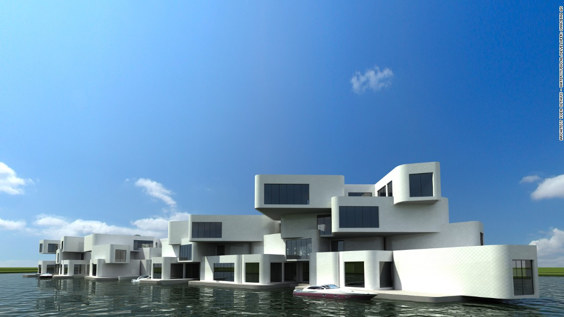 The Citadel floating apartment building is home to 180 modules, which rest on top of a floating concrete foundation. A floating road connects the complex to the shore, so residents can park their cars on site. Dutch developers ONW/BNG GO designed the complex to be highly efficient, consuming 25 percent less energy than a conventional building of the same size.