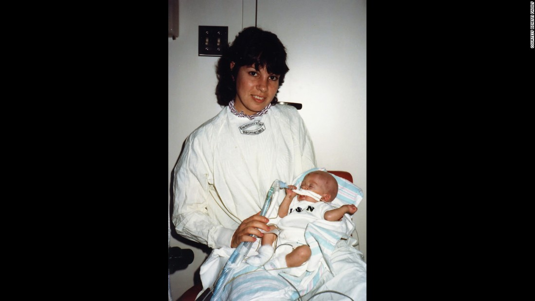 Jason Benetti was born 10 weeks premature. This is Benetti in 1983 with his mom in the hospital.