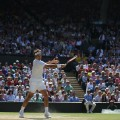 Federer returns serve Marin Cilic Wimbledon quarterfinals