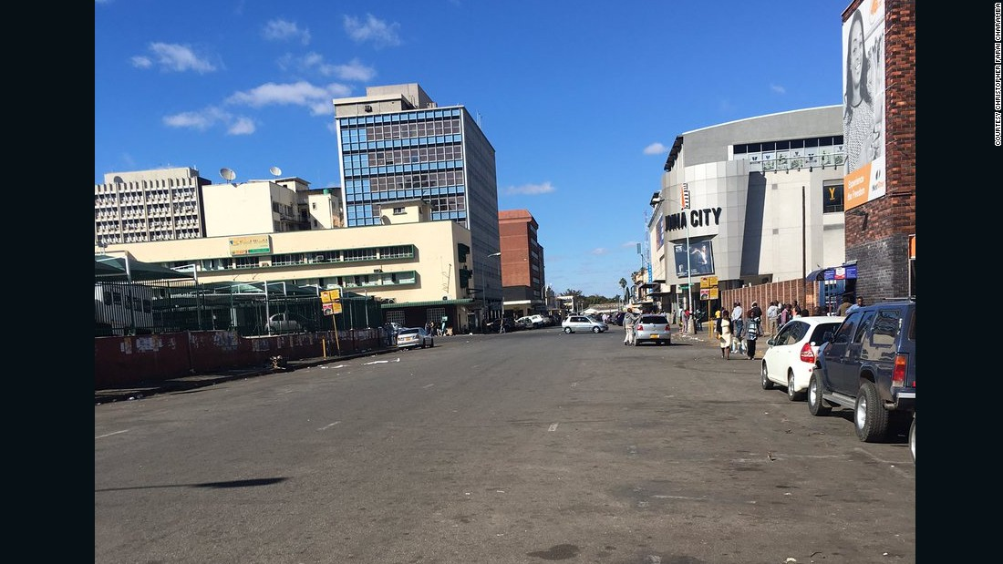 A peaceful protest against corruption in Zimbabwe's capital, Harare, leaves the streets empty.