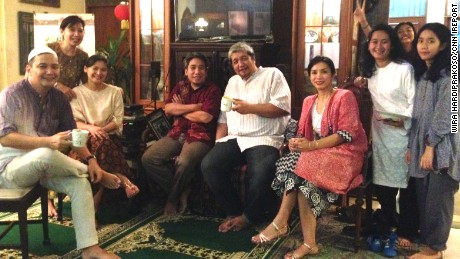 Wira Hardiprakoso, left, with his extended family on Eid.