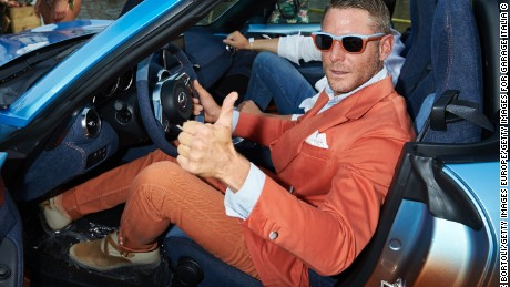 MILAN, ITALY - JUNE 23: Lapo Elkann poses with the Garage Italia Customs Mazda MX-5 Levanto during the Mazda Beach Party In Milan on June 23, 2016 in Milan, Italy. (Photo by Guido De Bortoli/Getty Images For Garage Italia Customs)