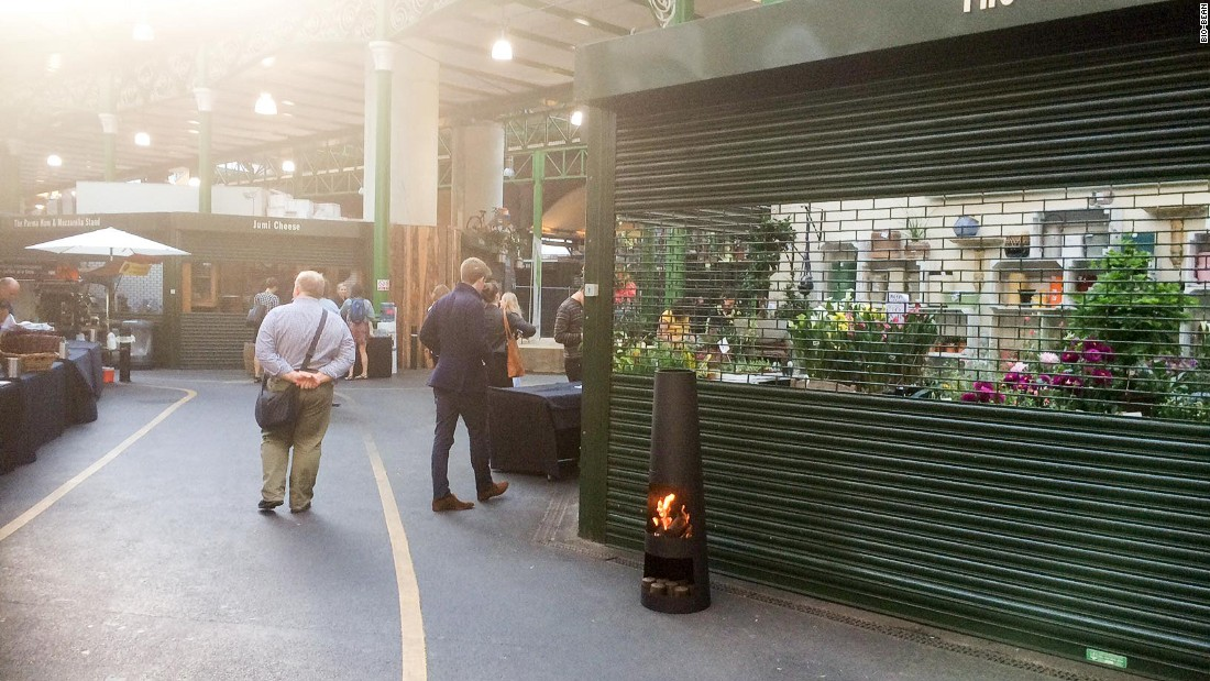 "A burner fueled by bio-bean briquettes at London's Borough Market. ""Two and half years ago, this was a sketch on the back of a napkin,"" says Kay. ""Today, it's a ground-out reality which could power the future."""