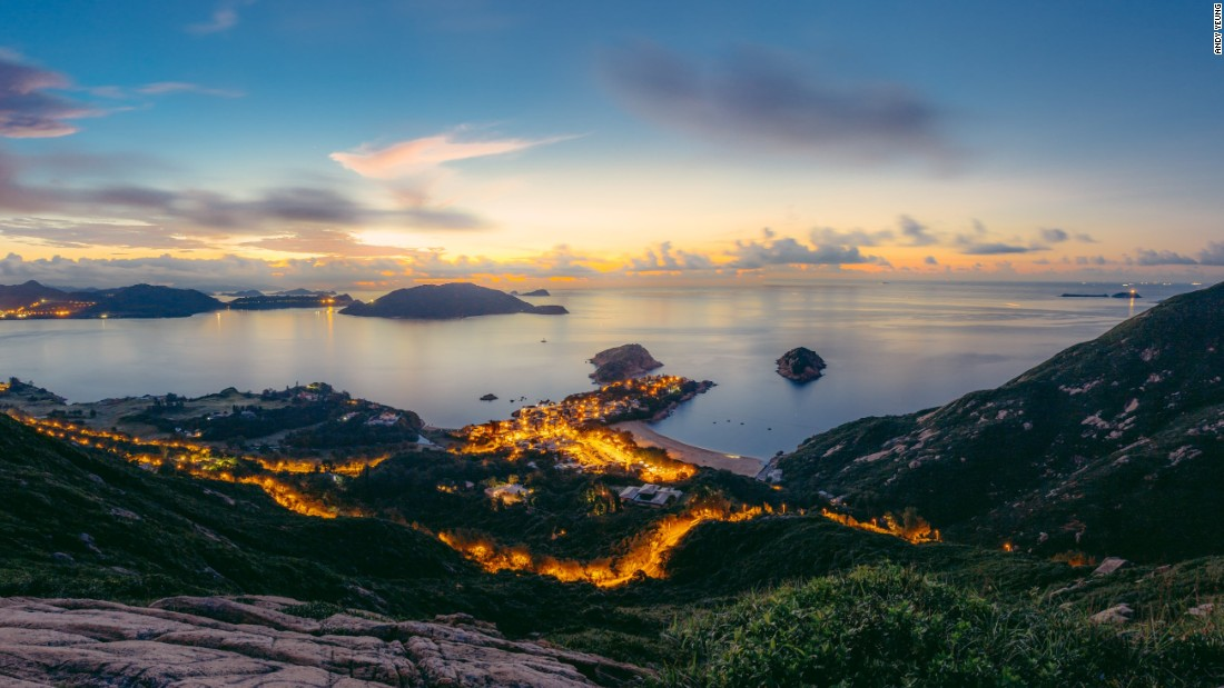 The beachside village of Shek O, as seen here from Dragon's Back, is located just south of Big Wave Bay, Hong Kong's surfing jewel.