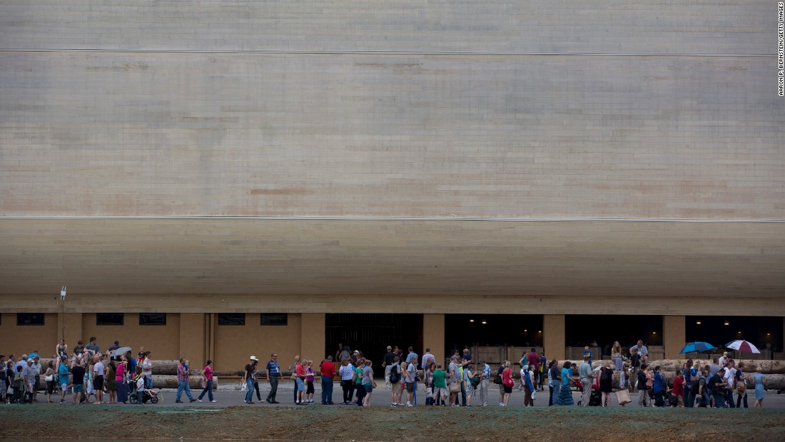 "Visitors line up Tuesday, July 5, for a preview tour of the <a href=""http://www.cnn.com/2016/07/06/travel/gallery/noahs-ark-encounter/index.html"" target=""_blank"">Ark Encounter,</a> a theme park in Williamstown, Kentucky, that features a modern interpretation of Noah's Ark."