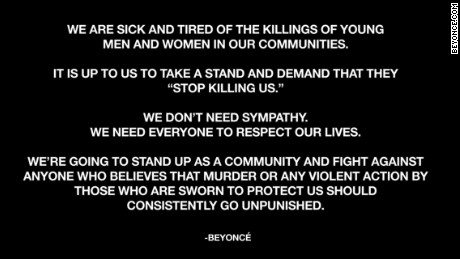 Excerpts from a statement written by  Beyonce posted on her website Thursday.