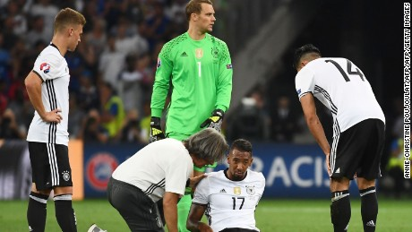 Boateng was forced to limp out of the game with a hamstring injury.