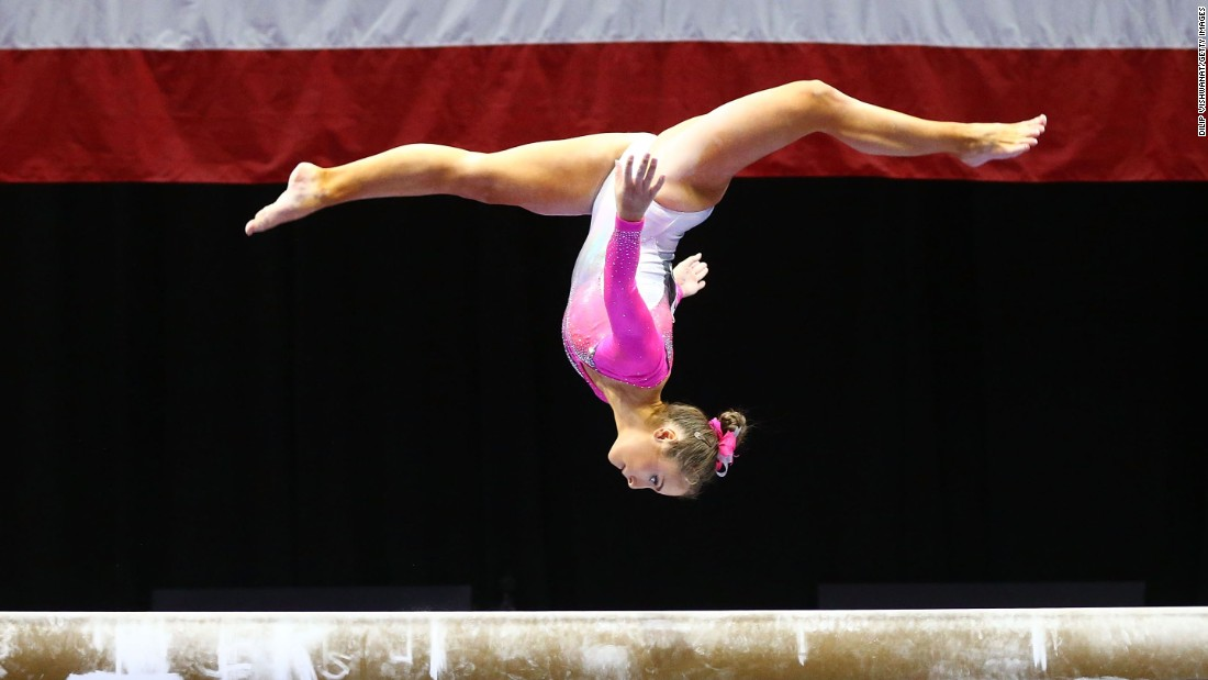 Christina Desiderio, seen here competing on the balance beam during this year's P&G Championships, finished tied for sixth in the floor exercise there.