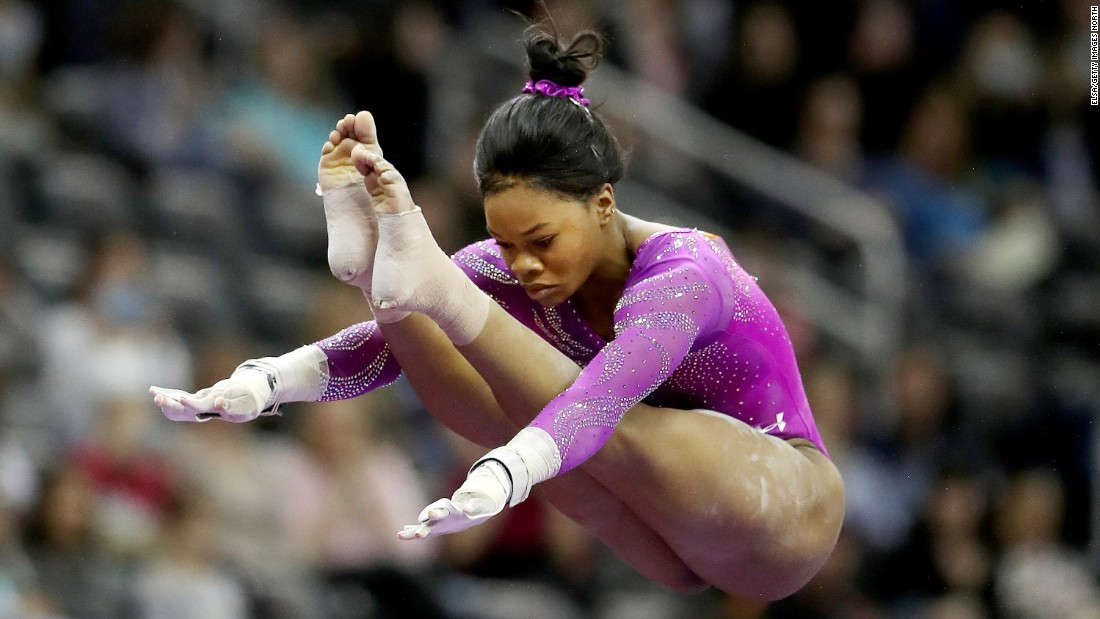 Gabby Douglas won all-around gold at the London Olympics in 2012. She is trying to become the first woman since Nadia Comaneci to return to the Olympics after winning all-around gold.