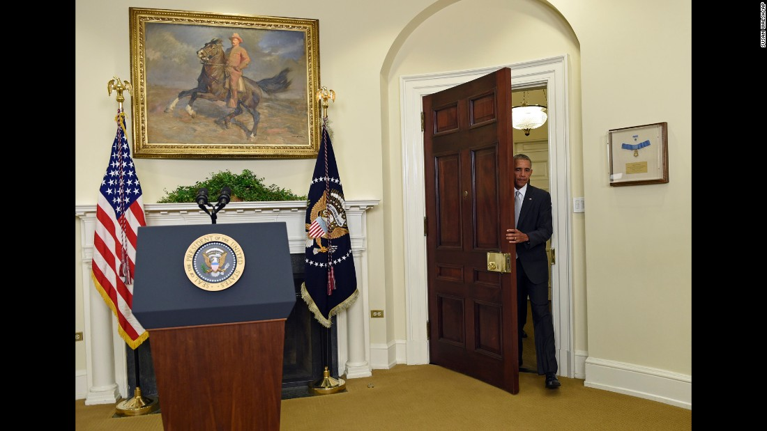 "U.S. President Barack Obama arrives in the Roosevelt Room of the White House to make a statement on Afghanistan on Wednesday, July 6. Obama said he would <a href=""http://www.cnn.com/2016/07/06/politics/obama-to-speak-on-afghanistan-wednesday-morning/"" target=""_blank"">draw down troops in Afghanistan</a> to 8,400 by the end of his administration -- a change from the initial target of 5,500. Right now there are 9,800 U.S. troops supporting the Afghan government."