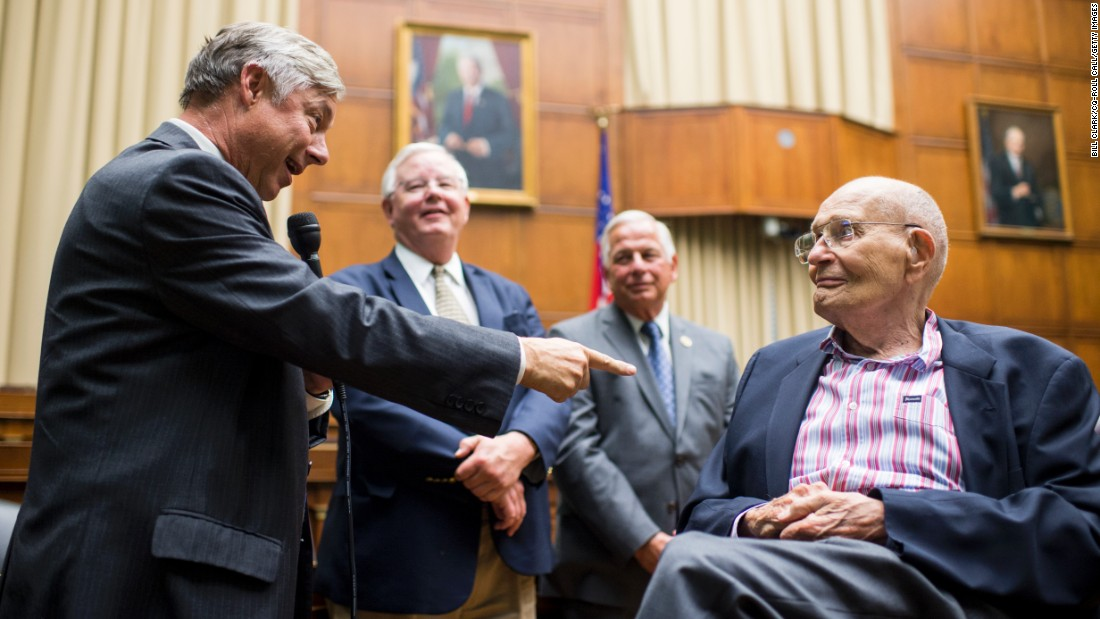 U.S. Rep. Fred Upton leads the crowd in singing happy birthday to former Rep. John Dingell on Wednesday, July 6. Dingell was celebrating his 90th birthday in the hearing room of the House Energy and Commerce Committee. The room is also known as the John Dingell Room.