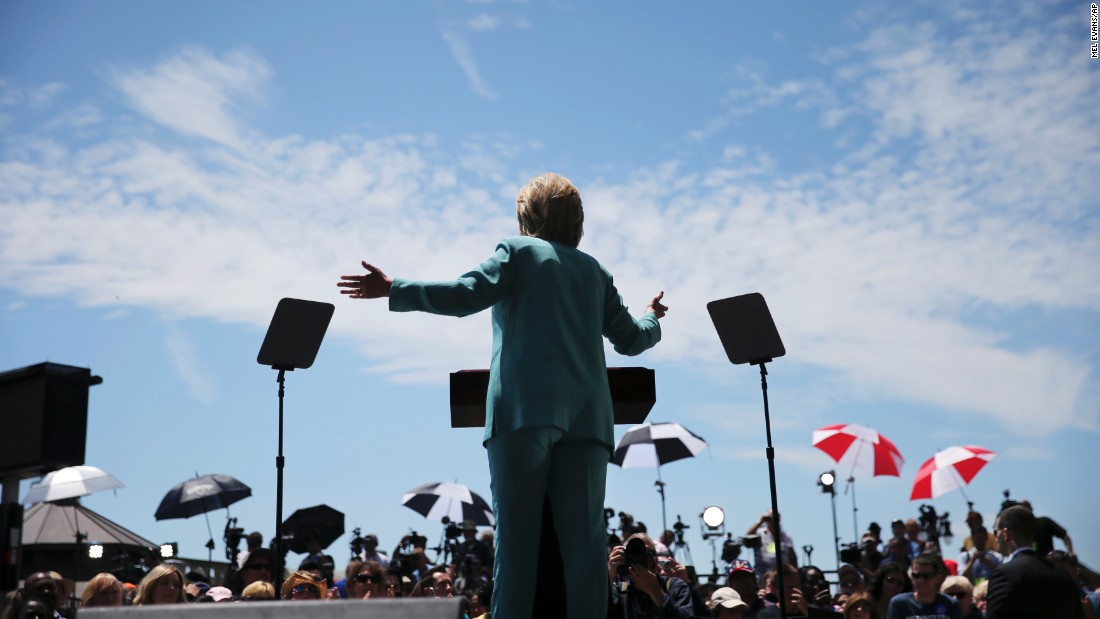 Democratic presidential candidate Hillary Clinton speaks on the Boardwalk in Atlantic City, New Jersey, on Wednesday, July 6.