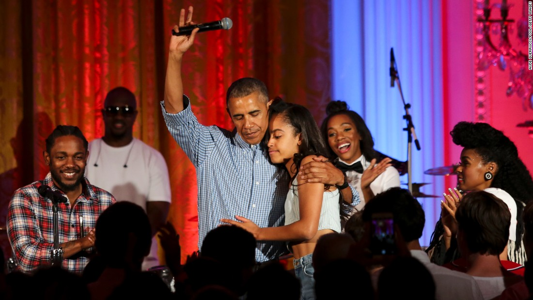 "U.S. President Barack Obama hugs his daughter Malia at the White House Fourth of July party. She was celebrating her 18th birthday during the party, which included musicians Janelle Monae and Kendrick Lamar. <a href=""http://www.cnn.com/2012/09/05/politics/gallery/sasha-and-malia-2008-present/index.html"" target=""_blank"">See more pictures of Malia and Sasha Obama since their father was elected President in 2008</a>"
