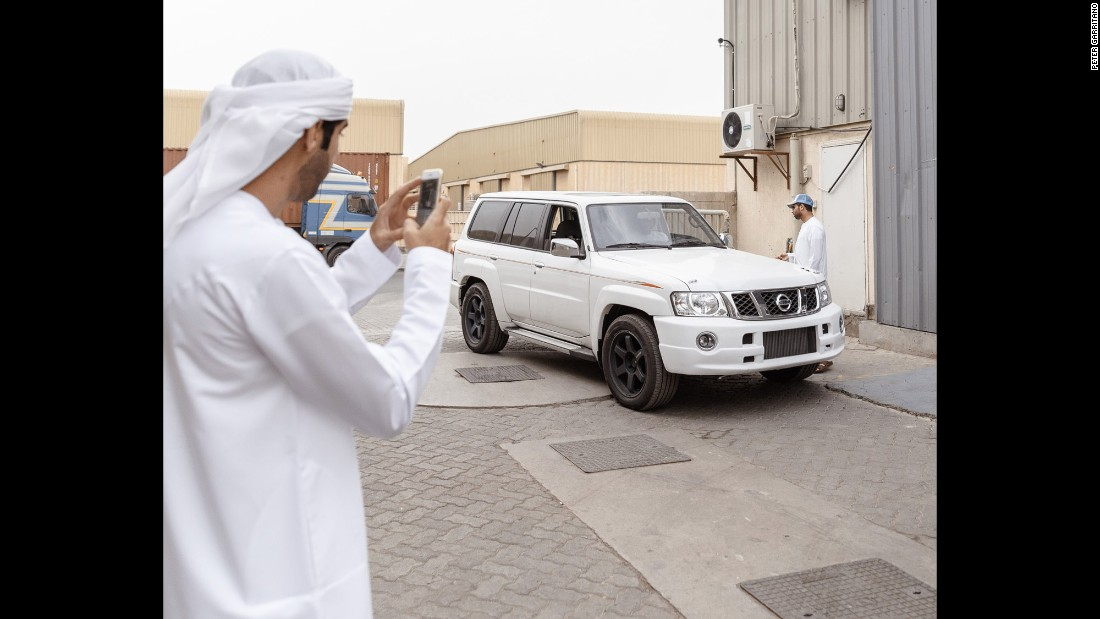 A turbocharged Nissan Patrol is taken out for a road test at an underground garage in Dubai. Gulf state governments have cracked down on hajwalah, Garritano said, so the practice has moved from public roads to private tracks and unlicensed garages.