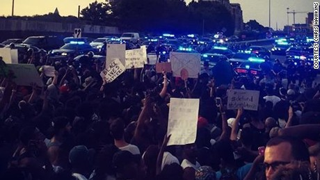Thousands of protesters have blocked off the highway in downtown Atlanta on Friday evening on July 8, 2016.