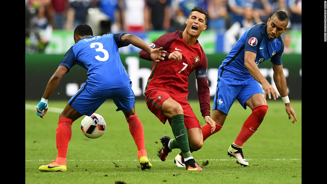 It was a collision with France's Dimitri Payet which led to Ronaldo's injury.