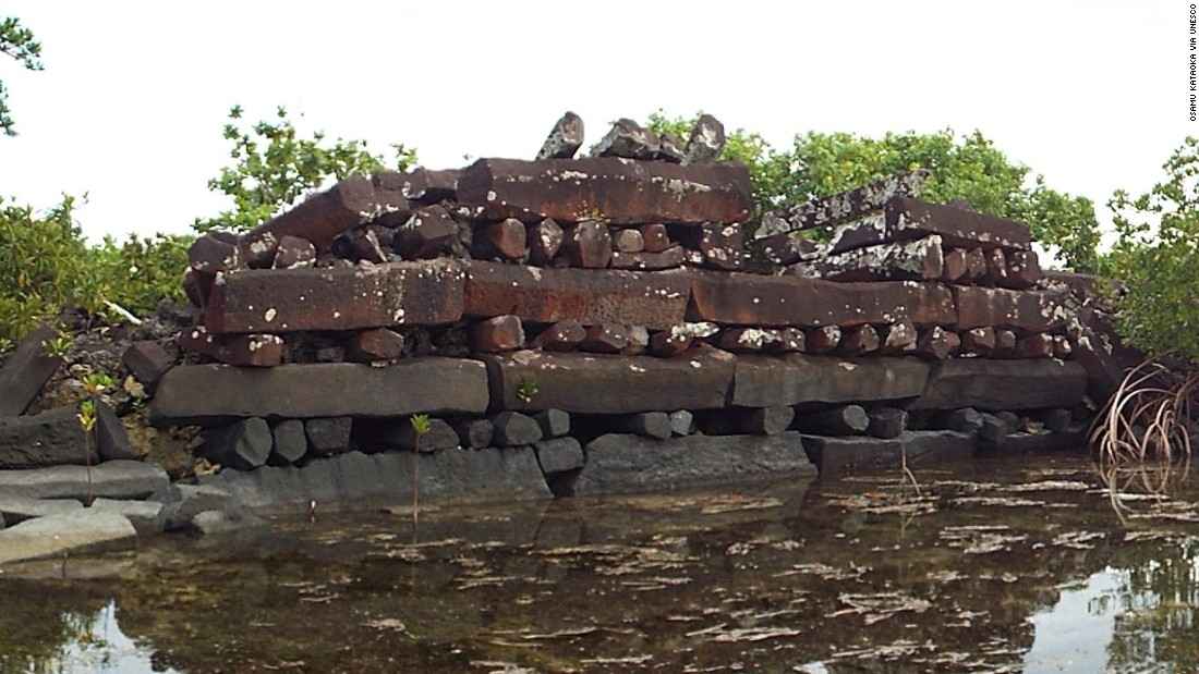 Constructed with basalt and coral boulder walls, Nan Madol is a series of 99 artificial islets off the southeast coast of the island Pohnpei. The islets protect the remains of stone palaces, temples, tombs and residences, built between 1200 and 1500 CE, that represent the ceremonial center of the Saudeleur dynasty.