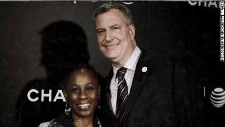 "New York City Mayor Bill de Blasio (R) and wife Chirlane McCray attend the ""Begin Again' Closing Night Premiere during the 2014 Tribeca Film Festival at BMCC Tribeca PAC on April 26, 2014 in New York City."