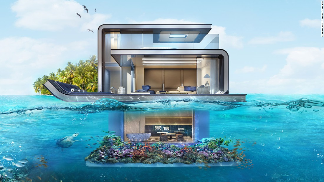 The Floating Seahorse villas take the houseboat concept to the next level. For starters, each three-story retreat features an entire floor submerged beneath the sea. Brought to life by Kleindienst real estate and property developers, the villas are part of the Heart of Europe resort opening off the coast of Dubai.