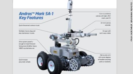 A Northrop Grumman Remotec brochure details the robot's capabilities.