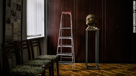 Lenin's bust on display in Kyiv at the Museum of Soviet Occupation.