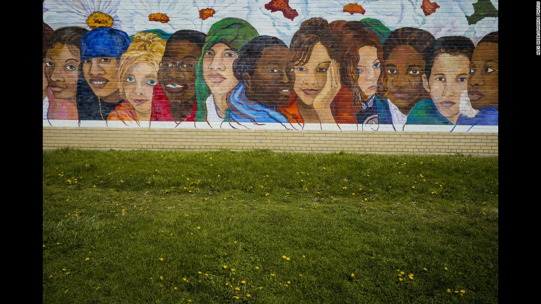 A mural decorates the Cudell Recreation Center, where 12-year-old Tamir Rice was killed by police gunfire in 2014. Police said the boy held what was later found to be a toy gun when he was shot.