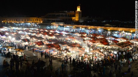 Jemaa el-Fna square in Marrakesh comes alive at dusk when street stalls are set up.