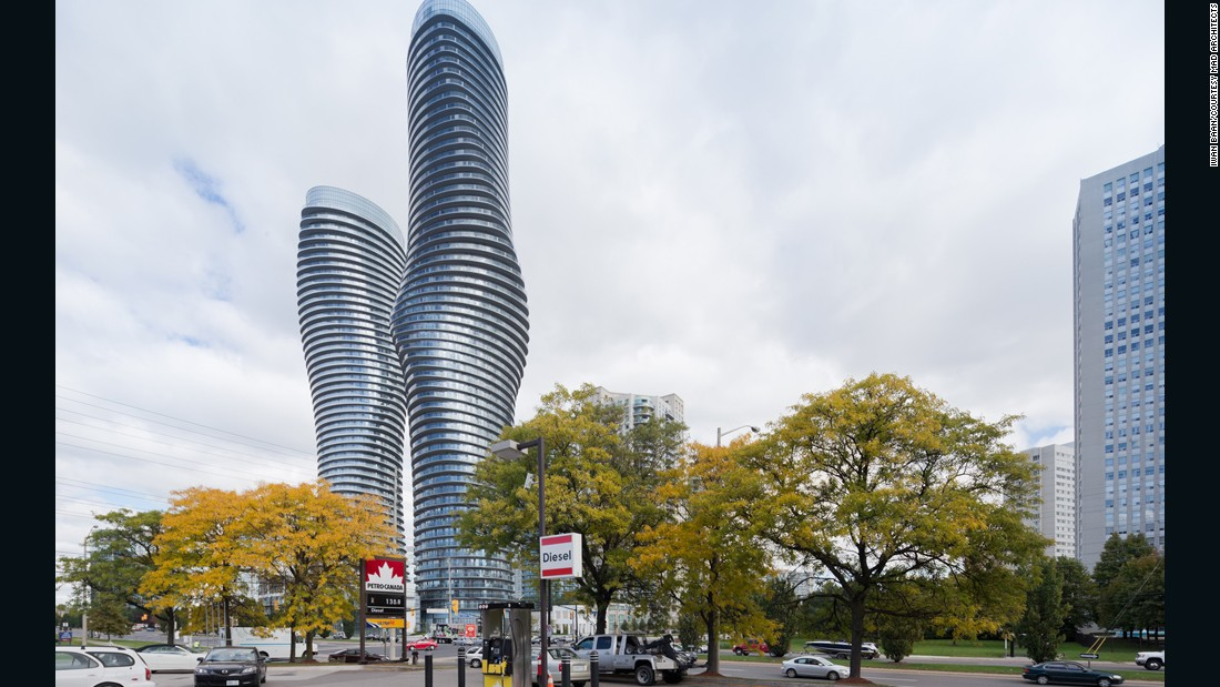 The buildings' curvaceous form has been likened to Marilyn Monroe.