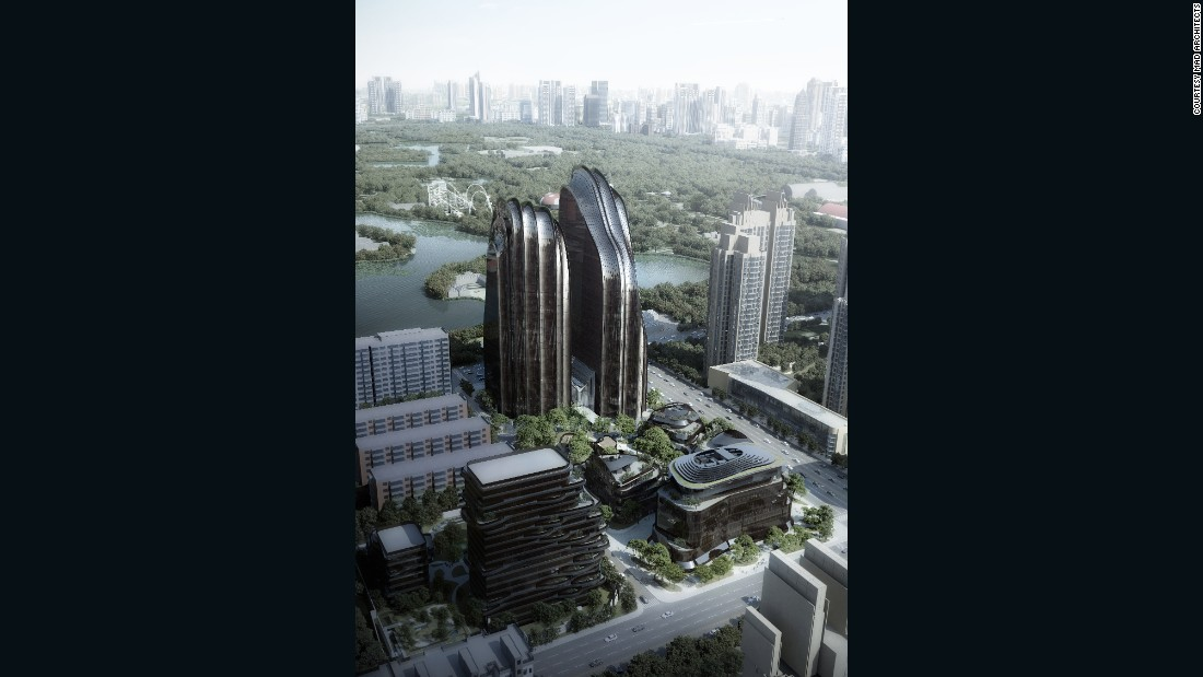 The Chaoyang Park Plaza, composed of over 120,000 square meters, took inspiration from Chinese classical landscape paintings, which often feature lakes, springs, forests, and stones.