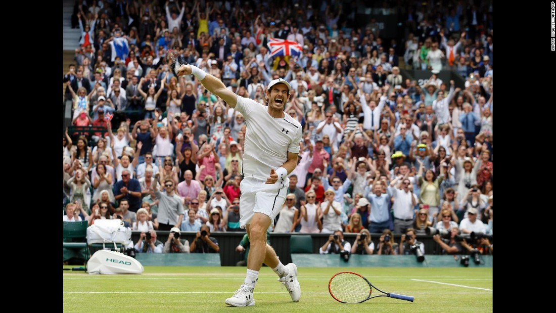 "<a href=""http://us.cnn.com/2016/07/10/tennis/andy-murray-wimbledon-milos-raonic/index.html"" target=""_blank"">Andy Murray celebrates after defeating Milos Raonic</a> in the men's singles final at Wimbledon on Sunday, July 10. The Scot's 6-4 7-6 7-6 victory over the Canadian solidified his third grand slam title overall."