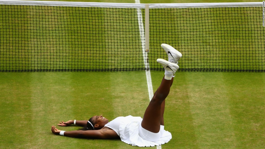 Serena Williams celebrates her seventh Wimbledon win on Saturday, July 9. The American defeated Germany's Angelique Kerber 7-5 6-3, earning her 22nd Grand Slam title.