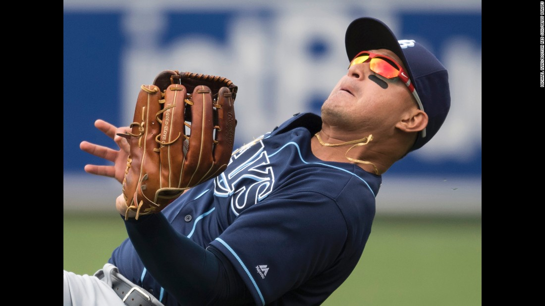 Oswaldo Arcia of the Tampa Bay Rays catches a fly ball against the Boston Red Sox in the third inning on Saturday, July 9.