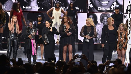 Host Eve with honorees Missy Elliott, members of Salt-N-Pepa, Queen Latifah, and Lil' Kim on Monday.
