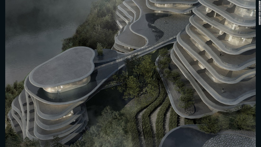 Emulating the area's undulating hills and tiered tea plantations, the low-rise buildings reach 200 feet and will be used for a mix of public and private purposes, including event spaces, a hotel, and housing.