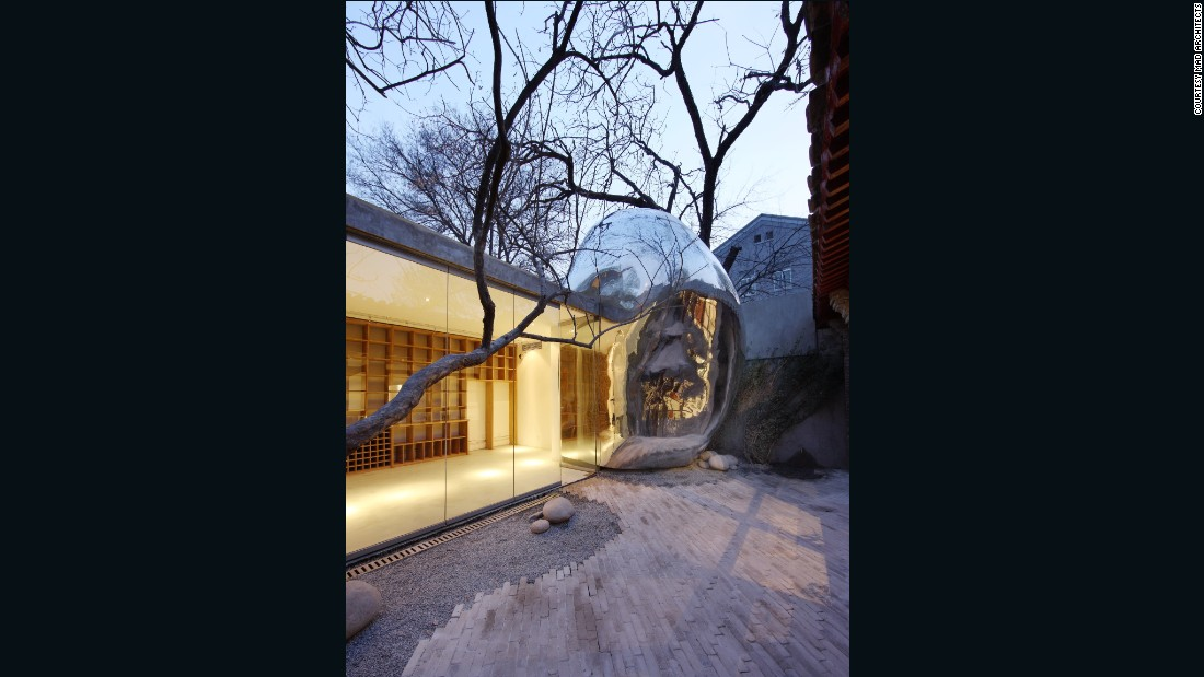 This metallic bubble is located in one of Beijing's oldest neighborhoods.