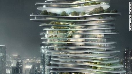 commercial high-rise in Chongqing, China - rendering nightview of the building