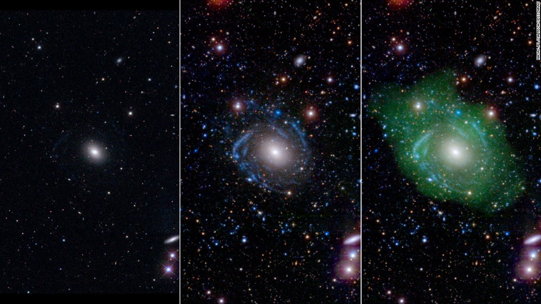 Meet UGC 1382: What astronomers thought was a normal elliptical galaxy (left) was actually revealed to be a massive disc galaxy made up of different parts when viewed with ultraviolet and deep optical data (center and right). In a complete reversal of normal galaxy structure, the center is younger than its outer spiral disk.