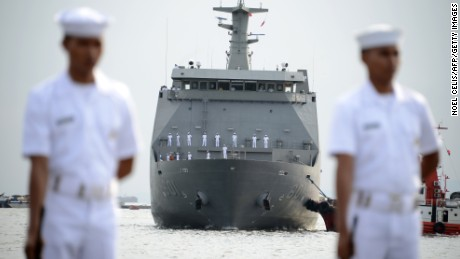 Philippine Navy's BRP Tarlac (LD-601), the first ever Strategic Sealift Vessel (SSV), arrives at the South Harbor in Manila on May 16, 2016.  The BRP Tarlac will serve as the Philippine Navy's floating command and control ship as the country modernises its fleet with tensions in the South China Sea -- through which one-third of the world's oil passes -- mounting in recent years.  / AFP / NOEL CELIS        (Photo credit should read NOEL CELIS/AFP/Getty Images)