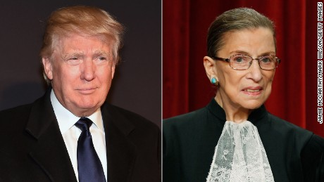 Donald Trump and Justice Ruth Bader Ginsburg