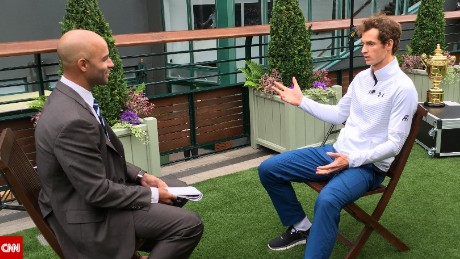 Wimbledon champ Andy Murray (right) spoke to CNN's James Blake about the change of gun laws after the Dunblane massacre in 1996. Murray was in a nearby classroom during the shooting.