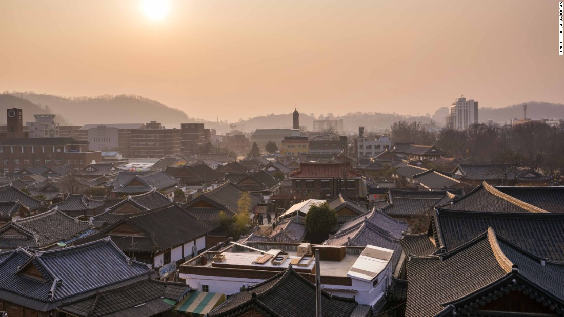 Hundreds of traditional Korean houses remain in central Jeonju's Hanok village.