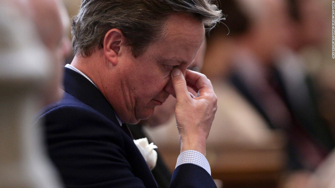Cameron attends a remembrance service for Labour MP Jo Cox, who was murdered in her constituency in June.