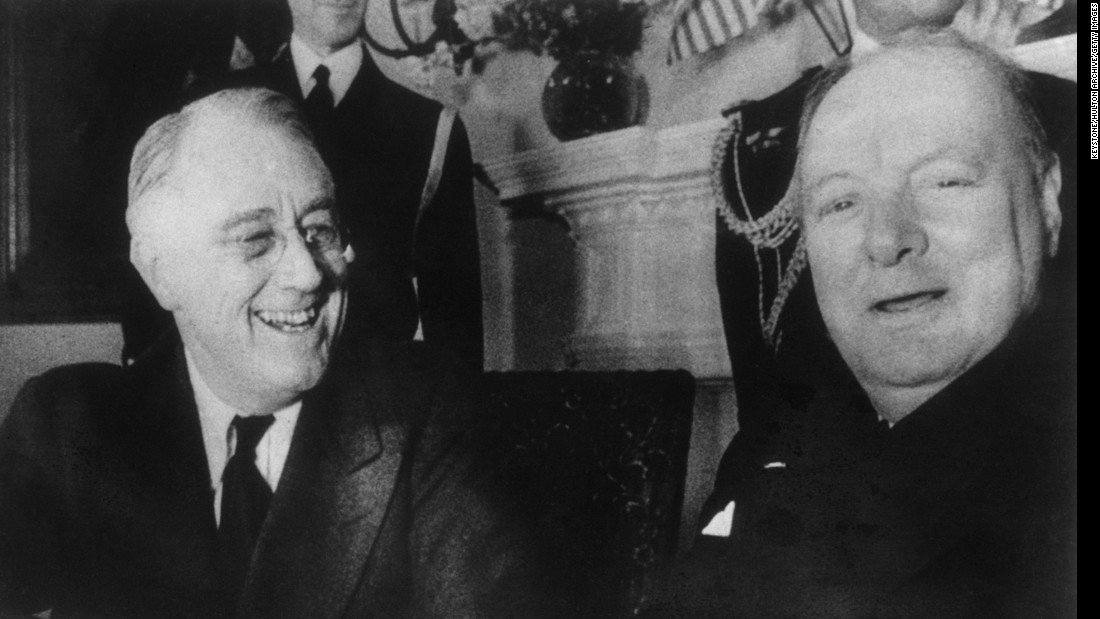 Franklin D. Roosevelt is pictured with Winston Churchill at the White House in December of 1941. <br />