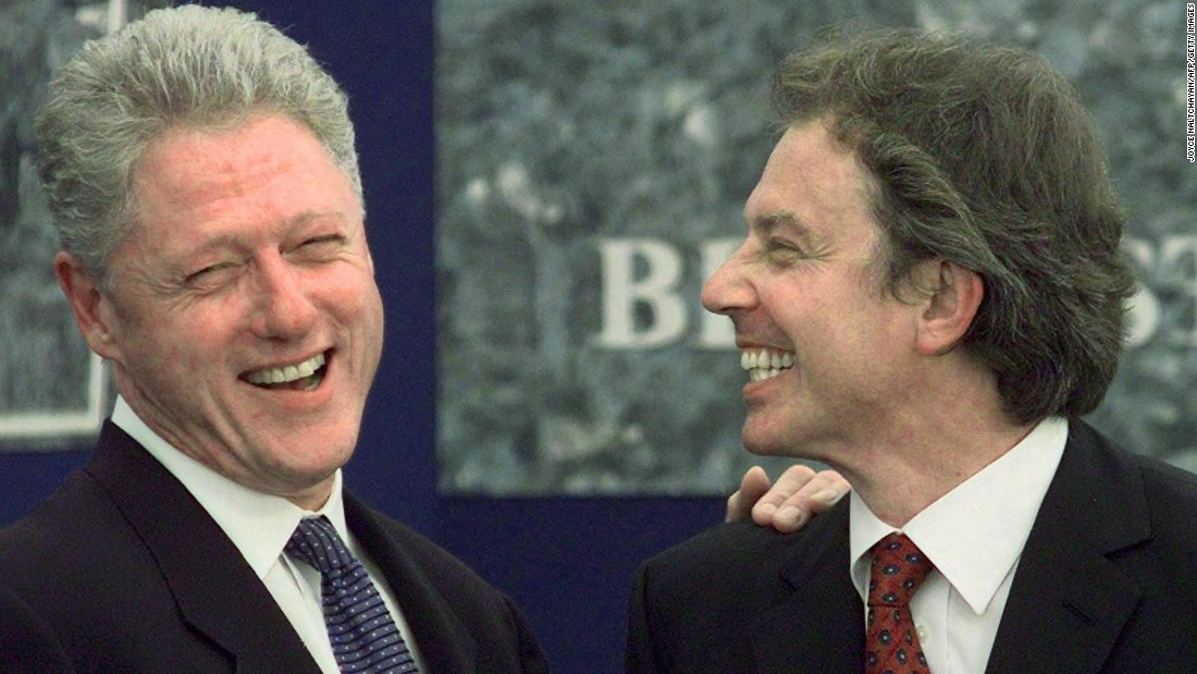Bill Clinton and Tony Blair share a laugh in Belfast, Northern Ireland, in May of 2007.