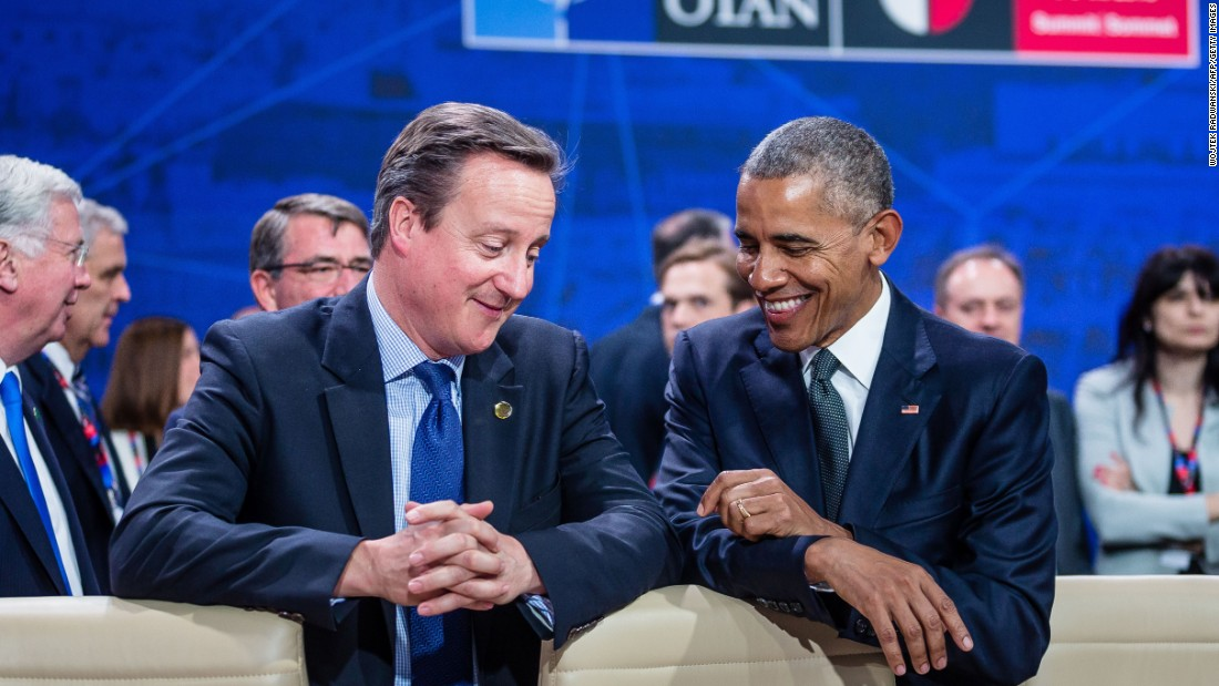 Barack Obama and David Cameron are pictured during the NATO summit in Warsaw, Poland, in 2016. This would be the last time Cameron would meet with Obama as prime minister. <br />