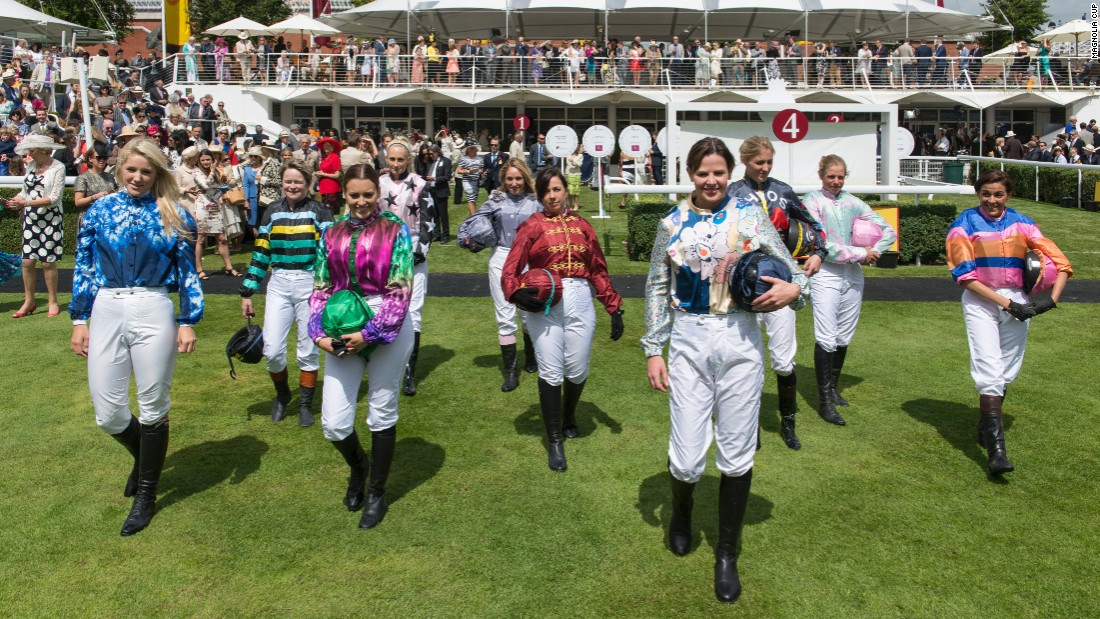 The 10 riders in the 2015 race -- won by sports performance consultant Camilla Henderson -- show off their jockey silks, specially designed by top names such as Vivienne Westwood.