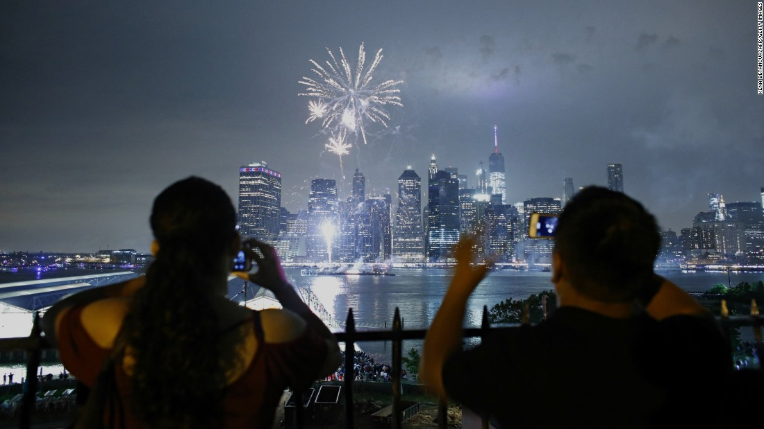 The Macy's Fourth of July fireworks display is the biggest in the United States. This year's 25-minute display featured dynamic pyro effects that were fired from five barges on the East River.